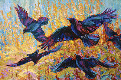 Crow Painting - Corn Tag by Marion Rose
