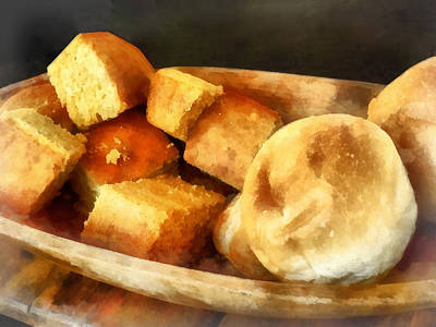 Breads Photograph - Cornbread And Rolls by Susan Savad