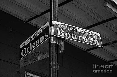 Digital Art - Corner Bourbon And Orleans Sign French Quarter New Orleans Black And White Poster Edges Digital Art  by Shawn O'Brien