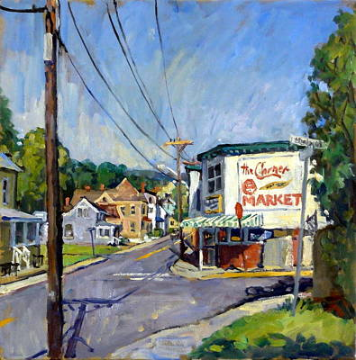 Abstract Realist Landscape Painting - Corner Market by Thor Wickstrom
