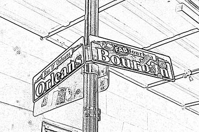 Digital Art - Corner Of Bourbon And Orleans Sign French Quarter New Orleans Black And White Photocopy Digital Art  by Shawn O'Brien