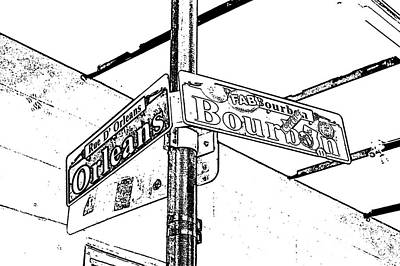 Digital Art - Corner Of Bourbon And Orleans Sign French Quarter New Orleans Black And White Stamp Digital Art  by Shawn O'Brien