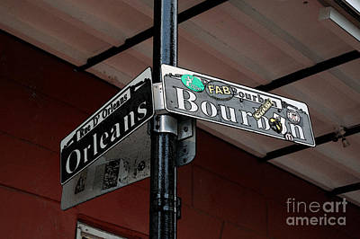 Digital Art - Corner Of Bourbon Street And Orleans Sign French Quarter New Orleans Accented Edges Digital Art by Shawn O'Brien