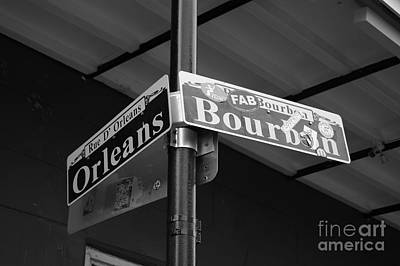 Photograph - Corner Of Bourbon Street And Orleans Sign French Quarter New Orleans Black And White by Shawn O'Brien