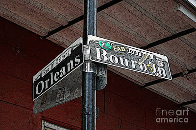 Digital Art - Corner Of Bourbon Street And Orleans Sign French Quarter New Orleans Poster Edges Digital Art  by Shawn O'Brien