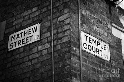 Corner Of Mathew Street And Temple Court In Liverpool City Centre Birthplace Of The Beatles  Art Print by Joe Fox