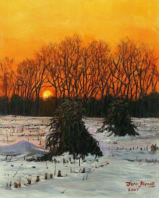 Cornstalks Painting - Cornstalks by John Pirnak