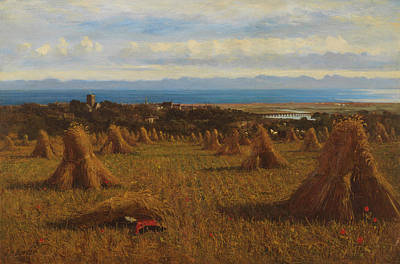 Farm Border Painting - Cornstooks by JM Barber