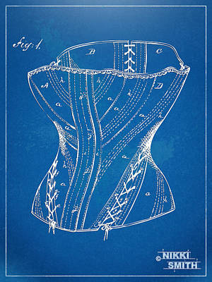 Female Form Digital Art - Corset Patent Series 1884 by Nikki Marie Smith