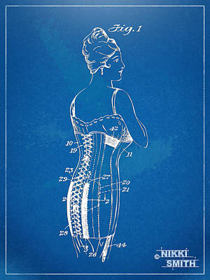 Female Form Digital Art - Corset Patent Series 1924 by Nikki Marie Smith