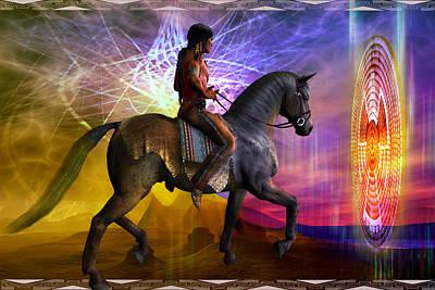 Print featuring the digital art Cosmic Horizon by Shadowlea Is