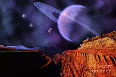 Digital Art - Cosmic Landscape Of Another Planet by Corey Ford