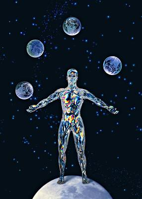 Cosmic Man Juggling Worlds, Artwork Art Print by Paul Biddle
