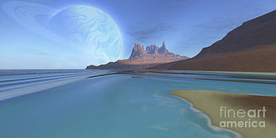 Mountainous Digital Art - Cosmic Seascape On Another Planet by Corey Ford