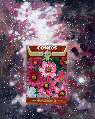 Cosmos Flowers Painting - Cosmos by John Lautermilch