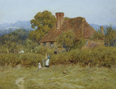 Cottage At Broadham Green Surrey In Sunset Light Art Print by Helen Allingham