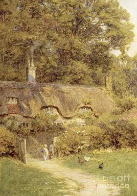 Cottage At Farringford Isle Of Wight Art Print by Helen Allingham