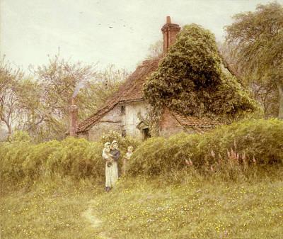 Woman Holding Baby Painting - Cottage At Pinner Middlesex by Helen Allingham