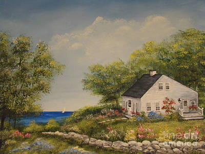 Painting - Cottage By The Lake by Leea Baltes