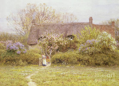 Woman Holding Baby Painting - Cottage Freshwater Isle Of Wight by Helen Allingham