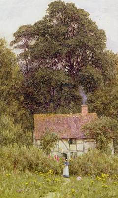Child With Flowers Painting - Cottage Near Brook  by Helen Allingham