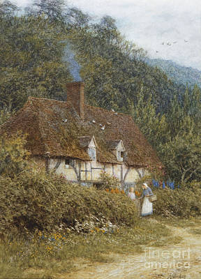 Building Exterior Painting - Cottage Near Witley Surrey by Helen Allingham