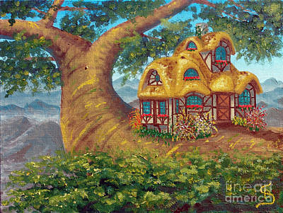 Cottage On A Branch From Arboregal Art Print by Dumitru Sandru