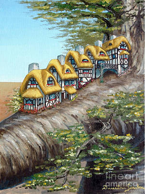 Sandru Painting - Cottage Row From Arboregal by Dumitru Sandru