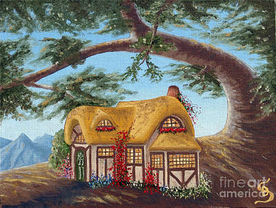 Sandru Painting - Cottage Under A Branch From Arboregal by Dumitru Sandru