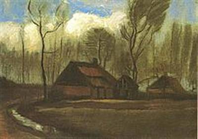 Decrepit Digital Art - Cottage With Decrepit Barn And Stooping Woman by Vincent Van Gogh