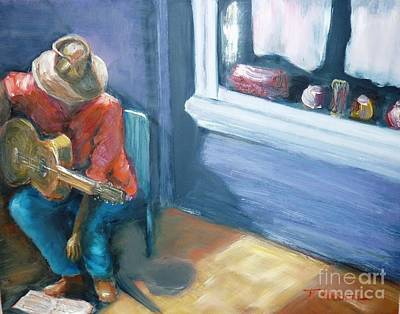Art Print featuring the painting Busker At Cottesloe - Original Sold by Therese Alcorn
