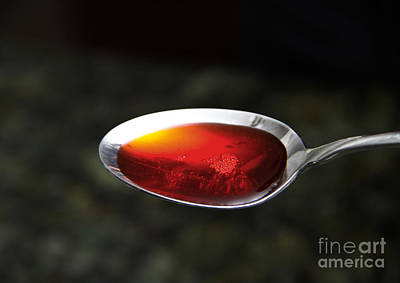 Cough Syrup Photograph - Cough Medicine In Spoon by Photo Researchers, Inc.