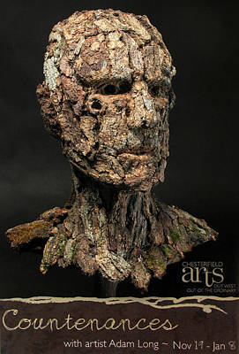 Found Object Art Sculpture - Countenances Exhibition Poster By Adam Long by Adam Long