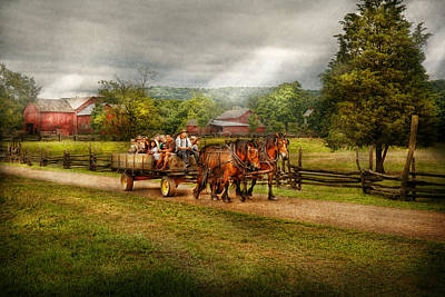 Hay Rides Photograph - Country - Horse - Life's Pleasures by Mike Savad