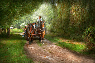 Hay Rides Photograph - Country - Horse - The Hay Ride  by Mike Savad
