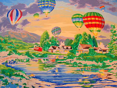 Country Balloon Ride Art Print by Amy Bradley