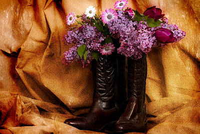 Country Boots And Flowers Art Print by Trudy Wilkerson