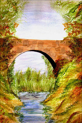 Art Print featuring the painting Country Bridge by Paula Ayers