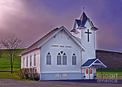 Photograph - Country Church At Sunset Art Prints by Valerie Garner
