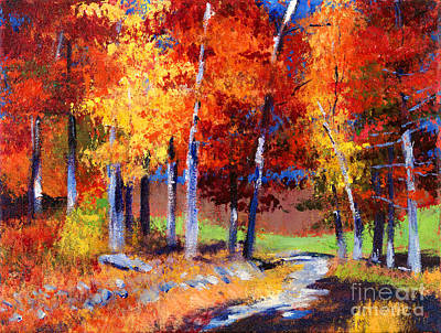 Pathway Painting - Country Club Fall Plein Air by David Lloyd Glover