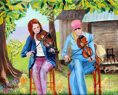 Lazy Dog Painting - Country Fiddlers by Pauline Ross