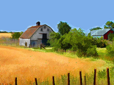 Fencing Painting - Country Fields by Elaine Plesser