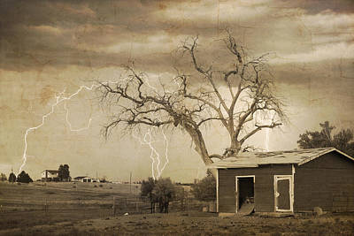 Monsoon Photograph - Country Horses Lightning Storm Ne Boulder County Co 76septx by James BO  Insogna