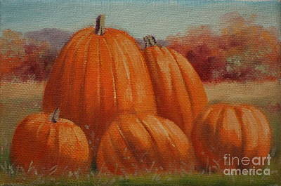 Country Pumpkins Art Print by Linda Eades Blackburn