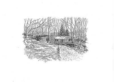 Drawing - Country Scene 1 by David Burkart