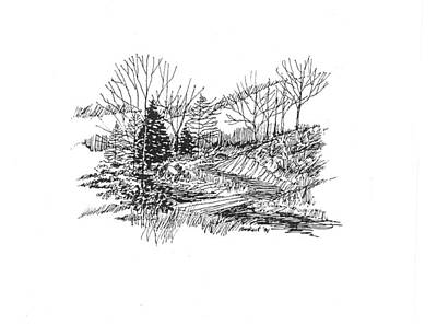 Drawing - Country Scene 3 by David Burkart