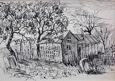 Cabin Window Drawing - Country Shack by Bill Joseph  Markowski