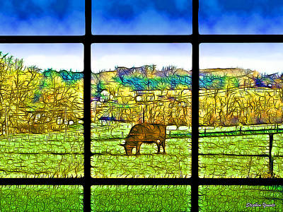 Cow Mixed Media - Country View by Stephen Younts