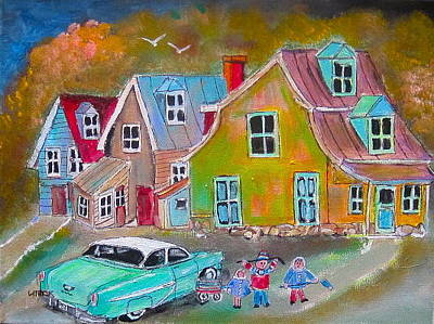 Litvack.old Cars Painting - Country Village 1954 by Michael Litvack
