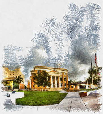 Photograph - County Courhouse - Sketch by Nicholas Evans
